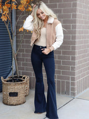 dark rinse super bell bottom jeans