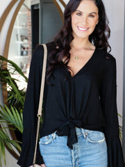 Bell Sleeve V-Neck Tie Front Blouse