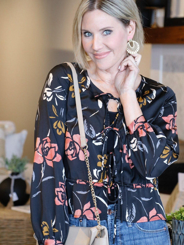 Saltwater Luxe Floral Tie Front Blouse