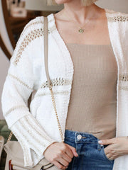 Neutral Contrast Stripe Open Cardigan