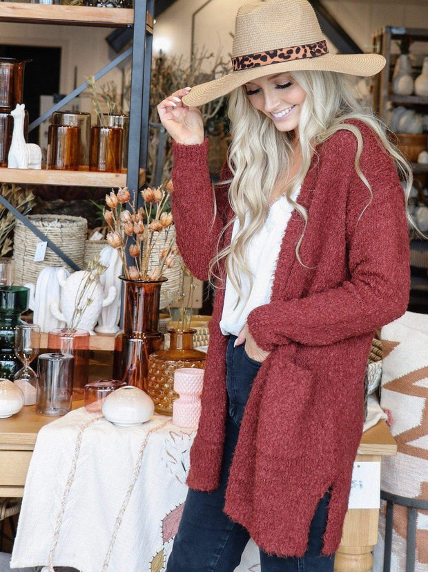 copper open front soft sweater cardigan