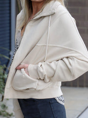 ivory multi stitch zip jacket