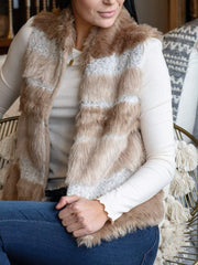 ivory tan open front fur vest
