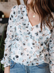 Gentle Fawn Sheer Floral V-Neck Blouse