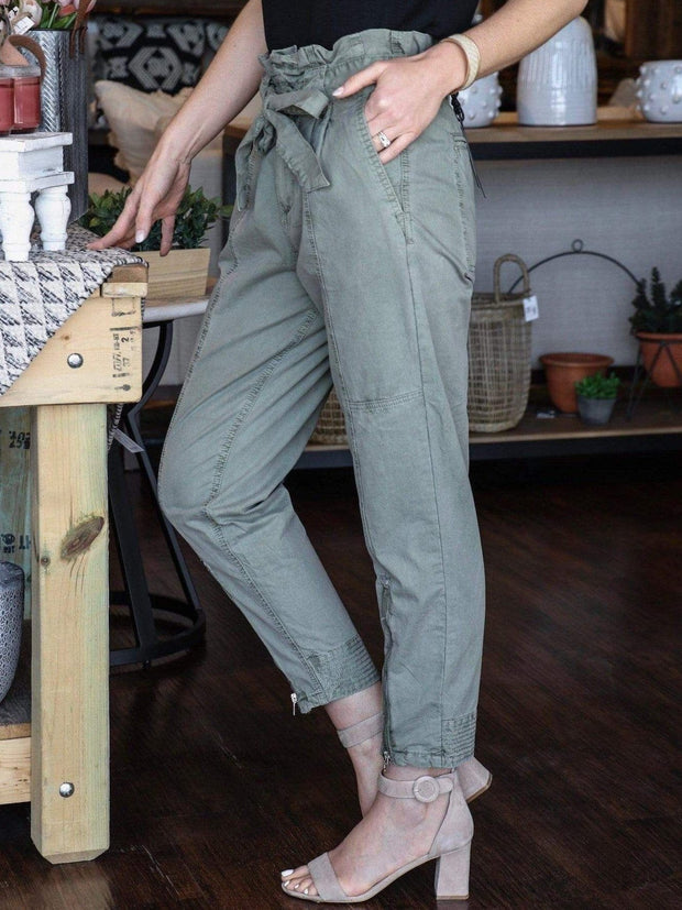 olive casual zipper pant