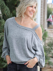 free people grey one shoulder sweater