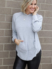light heather grey hooded sweater