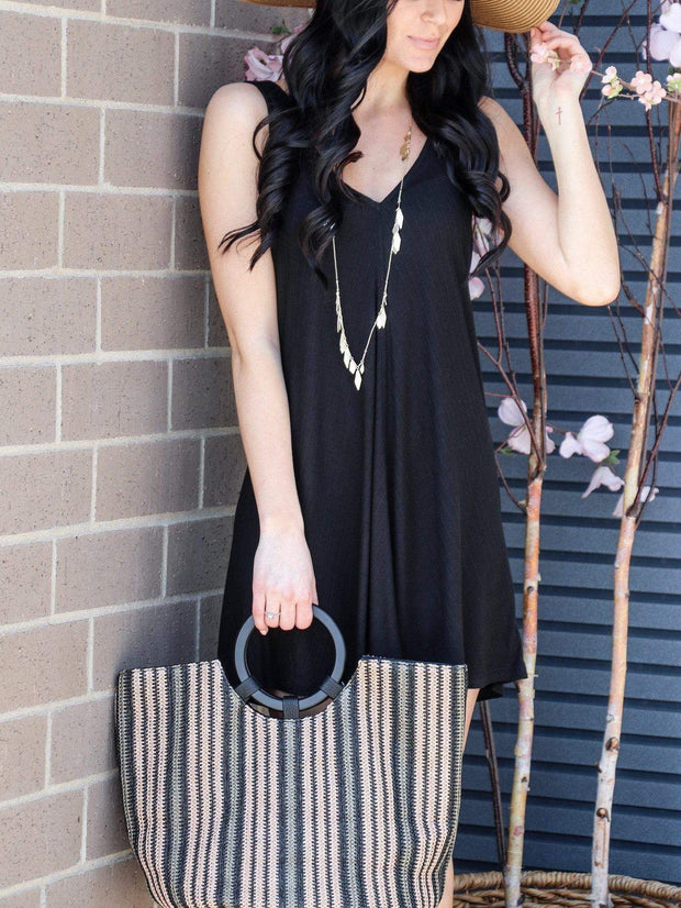 multi striped straw tote