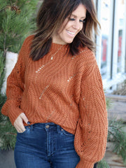 pointelle apricot sweater