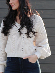 Free People cropped open stitch sweater