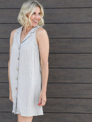 striped button front shirt dress