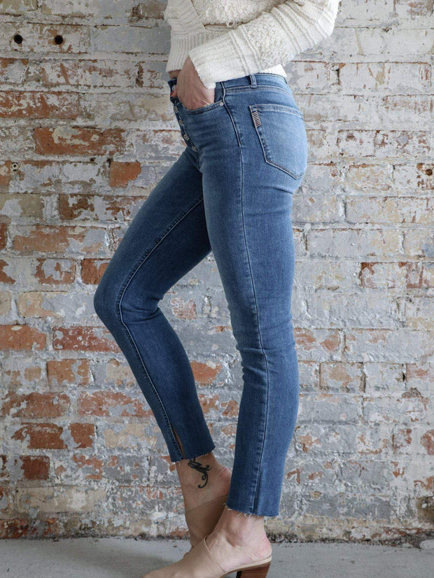 Paige Exposed Fly Vintage Wash Denim