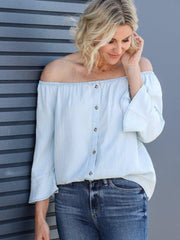off the shoulder chambray shirt