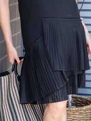 pleated skirt dress black
