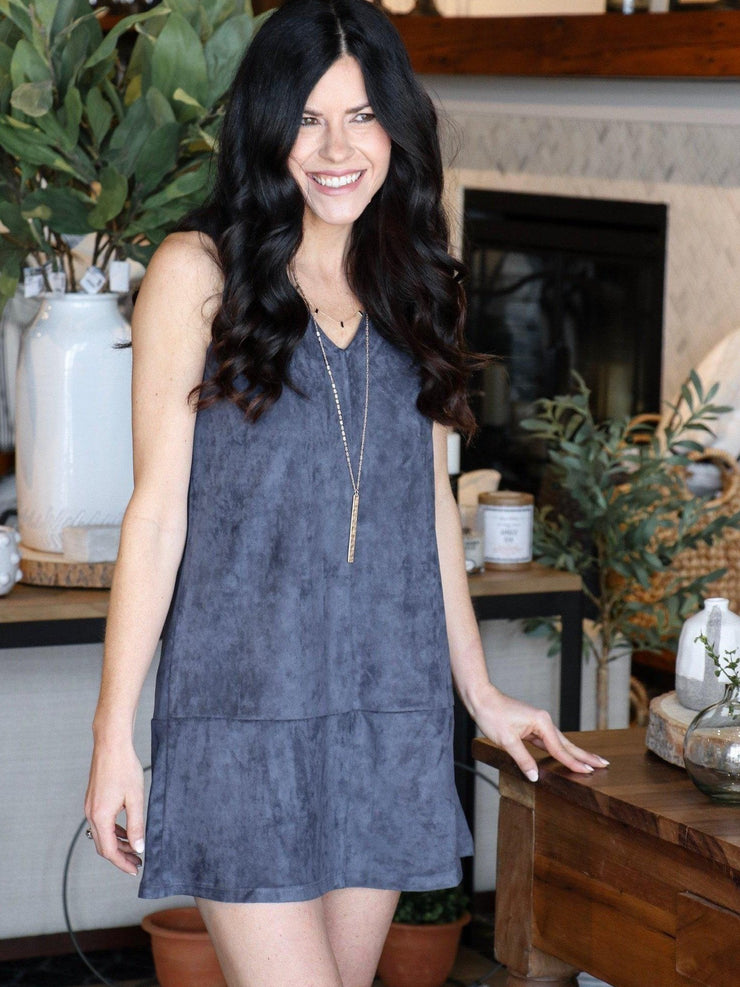 navy faux suede navy dress