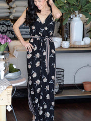 floral self tie jumpsuit