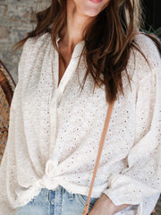 Free People V-Neck Button Front Eyelet Top