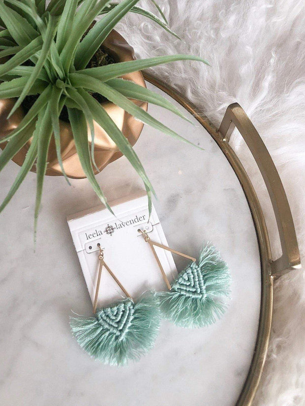 mint fringe drop earring