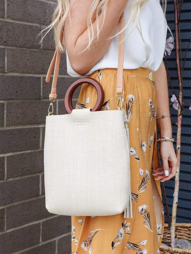 ivory woven with wood handle cross body