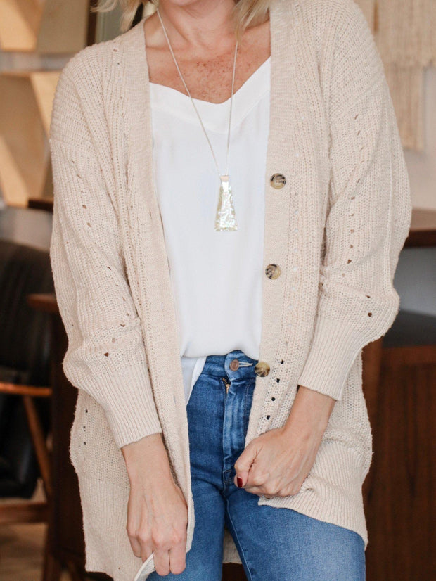 oatmeal button front cardigan
