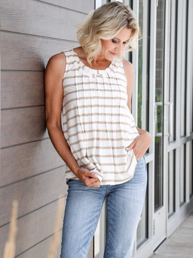tan & white striped tank