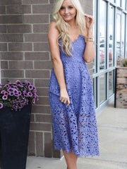 purple orchid lace midi dress