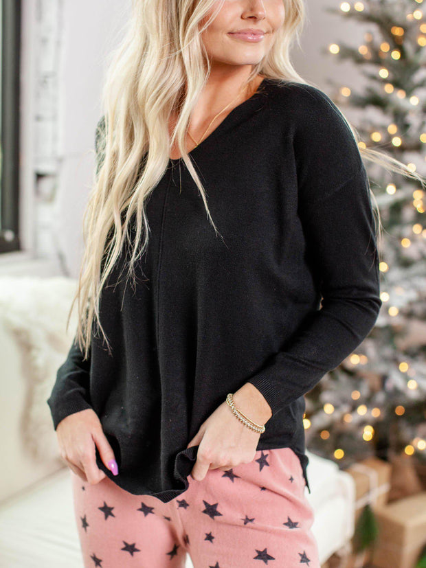 Super Soft Center Seam V-Neck Pullover Sweater