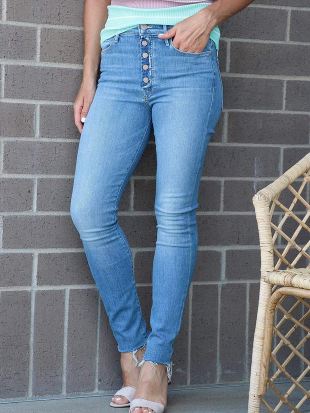 MOTHER high rise button front skinny jean