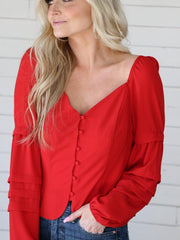 Adelyn Rae Layered Sleeve Button Up Blouse