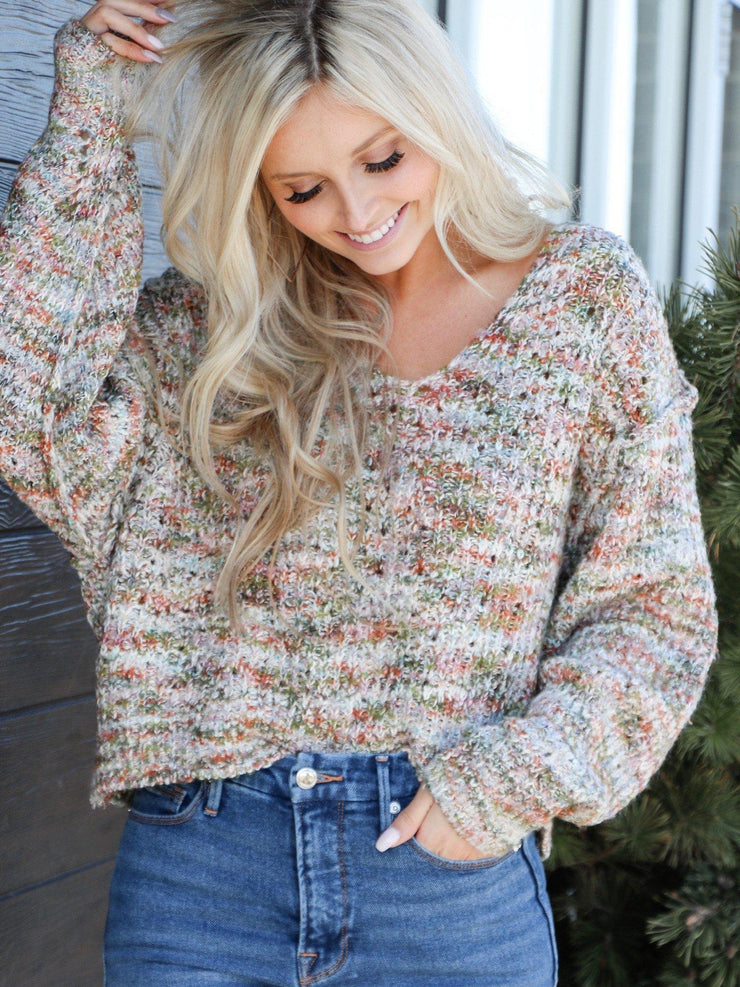 neutral v neck sweater