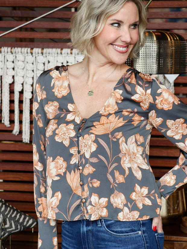 Saltwater Luxe Floral Button Front Blouse
