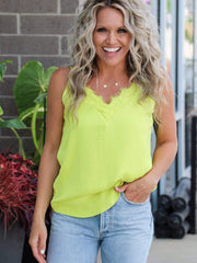 neon lime yellow lace tank