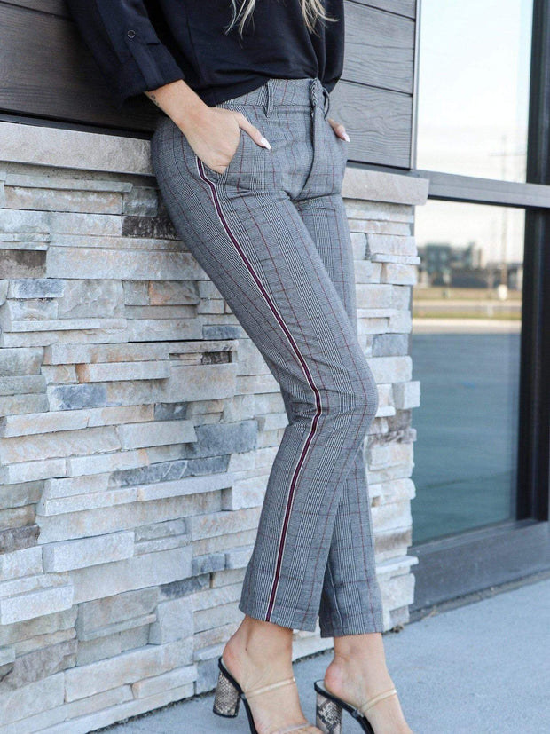 plaid cropped trouser