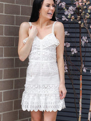 JOA white crochet dress