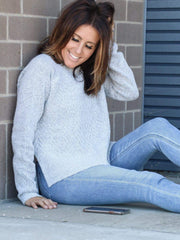 lightgrey pull over sweater