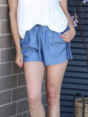 Current Air side striped chambray short