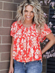 Free People Floral Baja top