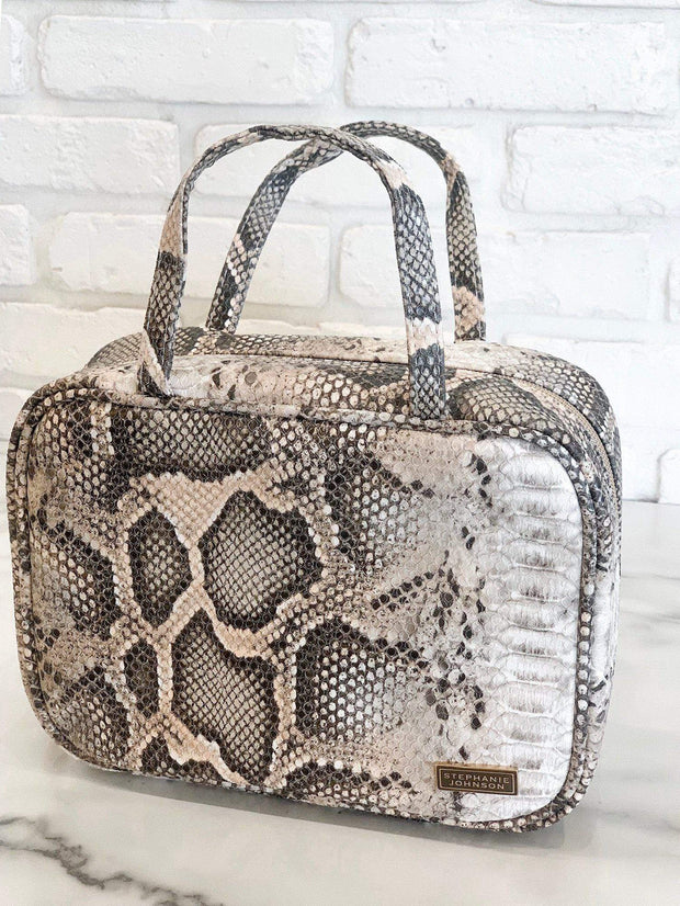 Stephanie Johnson Snake Print Cosmetic Travel Case