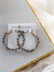Grey Shiny Stone Hoop Earring