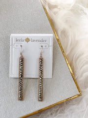 Rectangular Beaded Drop Earrings