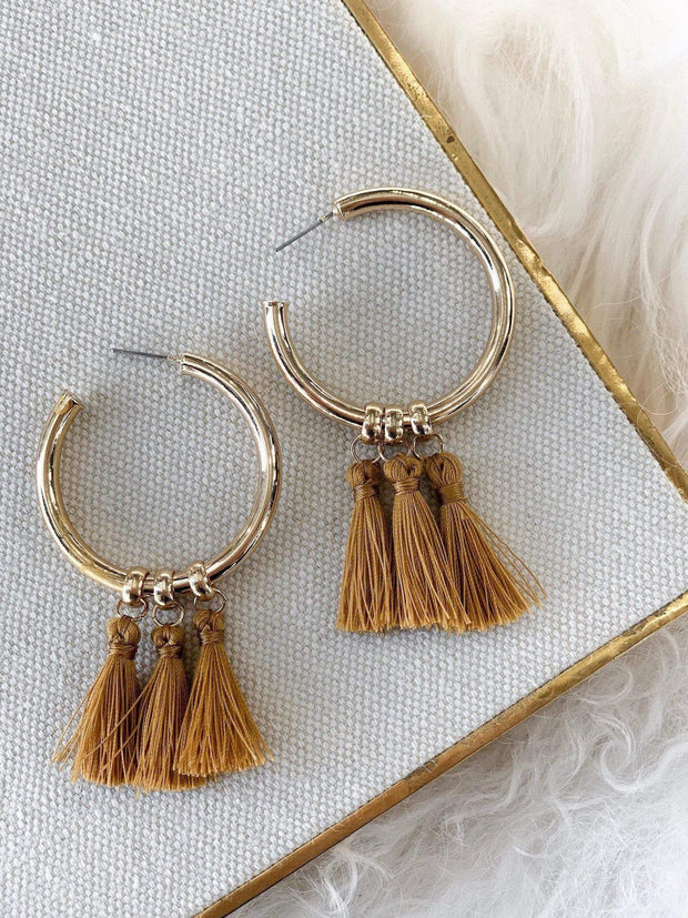 Dramatic Tassel Open Hoop Earring