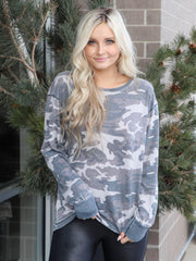 Free People Vintage Washed Camo Long Sleeve