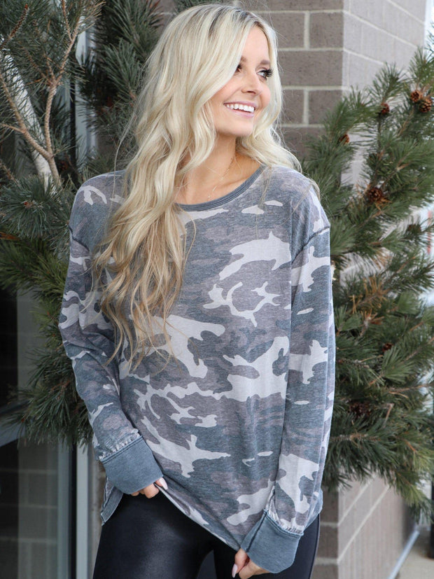 Free People Long Sleeve Camo Top
