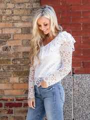 off shoulder eyelet top