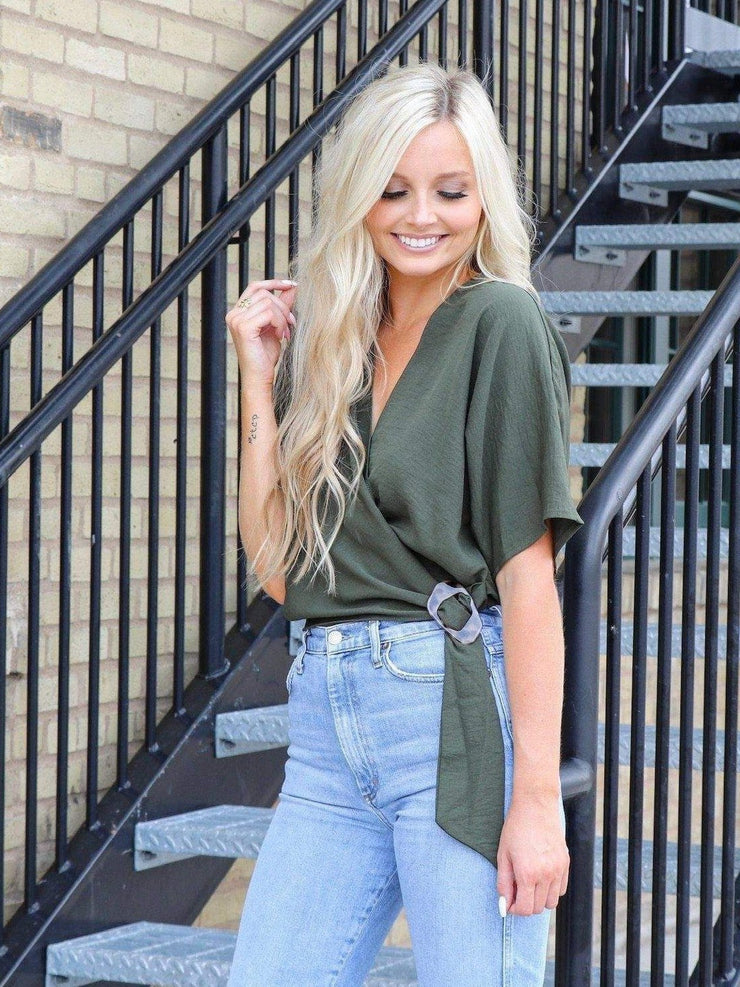 olive buckle wrap top