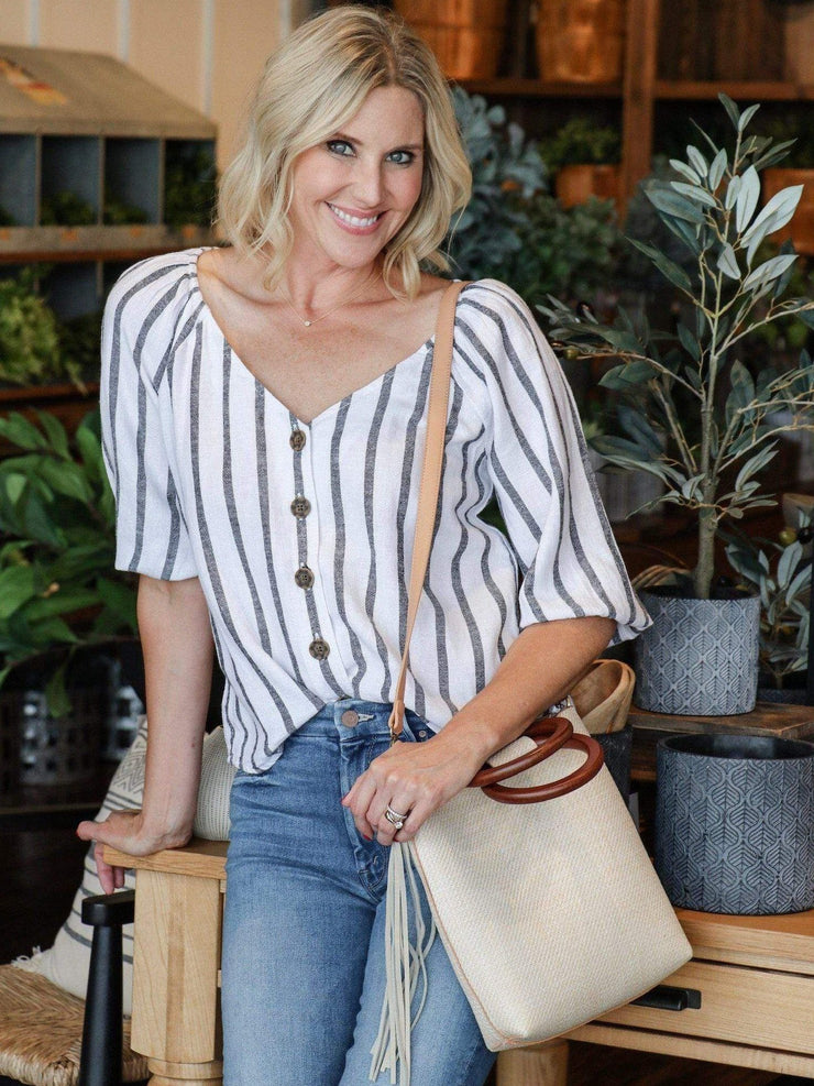 striped button front blouse
