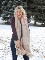 Neutral Plaid Fringe Blanket Scarf