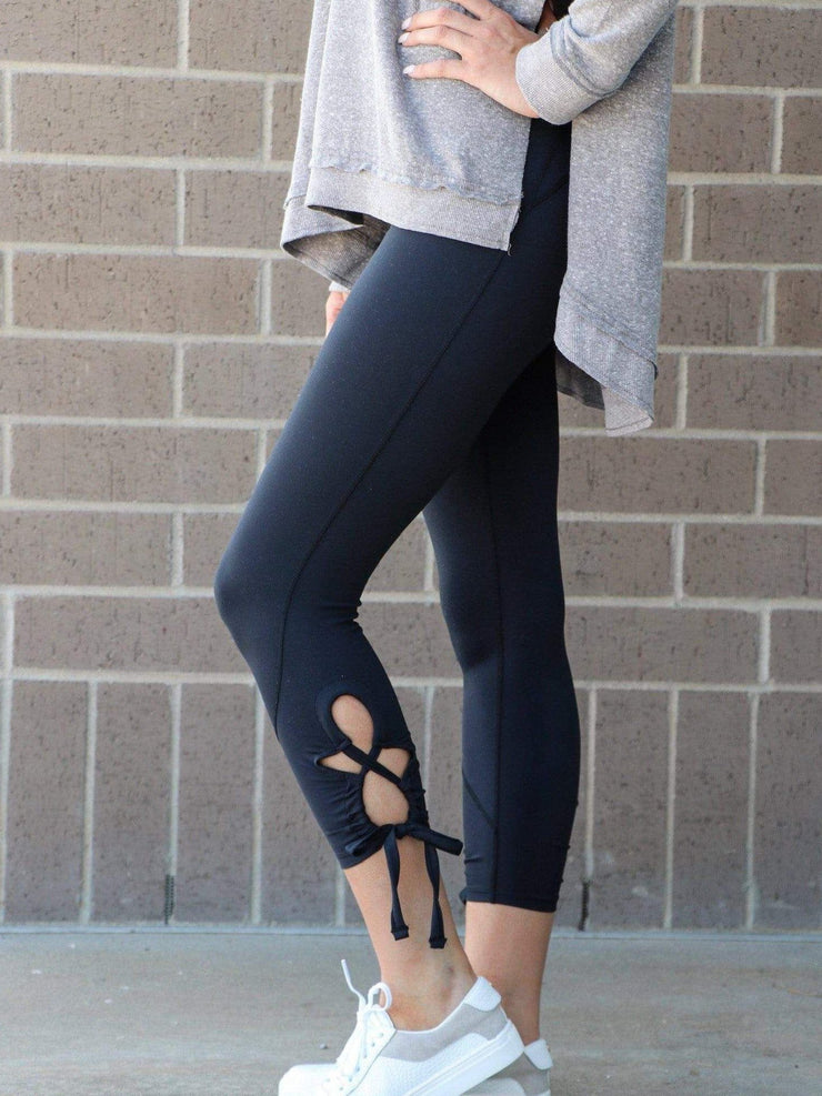 tie lace cropped legging