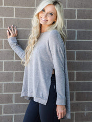 grey side slit sweatshirt