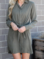olive button front dress